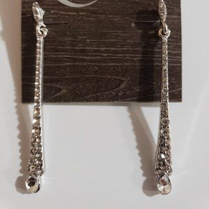 Silver Plated Polished Bar Crystal drop Earrings